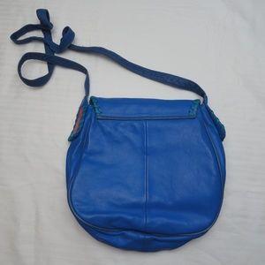 Viva of California Bags - Vtg Blue/Turquoise/Red Leather Funky Crossbody Bag